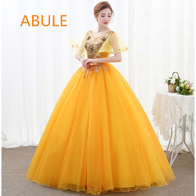 e97f39dbf784b ABULE Quinceanera Dresses illusion lace up beads o neck ball gown prom  dress Debutante Gown 15 Years Layer flowers Custom sizes
