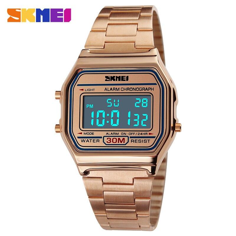 SKMEI Luxury Steel Quartz Watch Women Clock Gold Ladies Casual Wrist watch Relogio Feminino Waterproof Digital Dress Watches