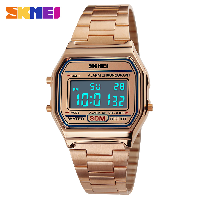 SKMEI Luxury Steel Quartz Watch Women Clock Gold Ladies Casual Wrist watch Relogio Feminino Waterproof Digital Dress Watches