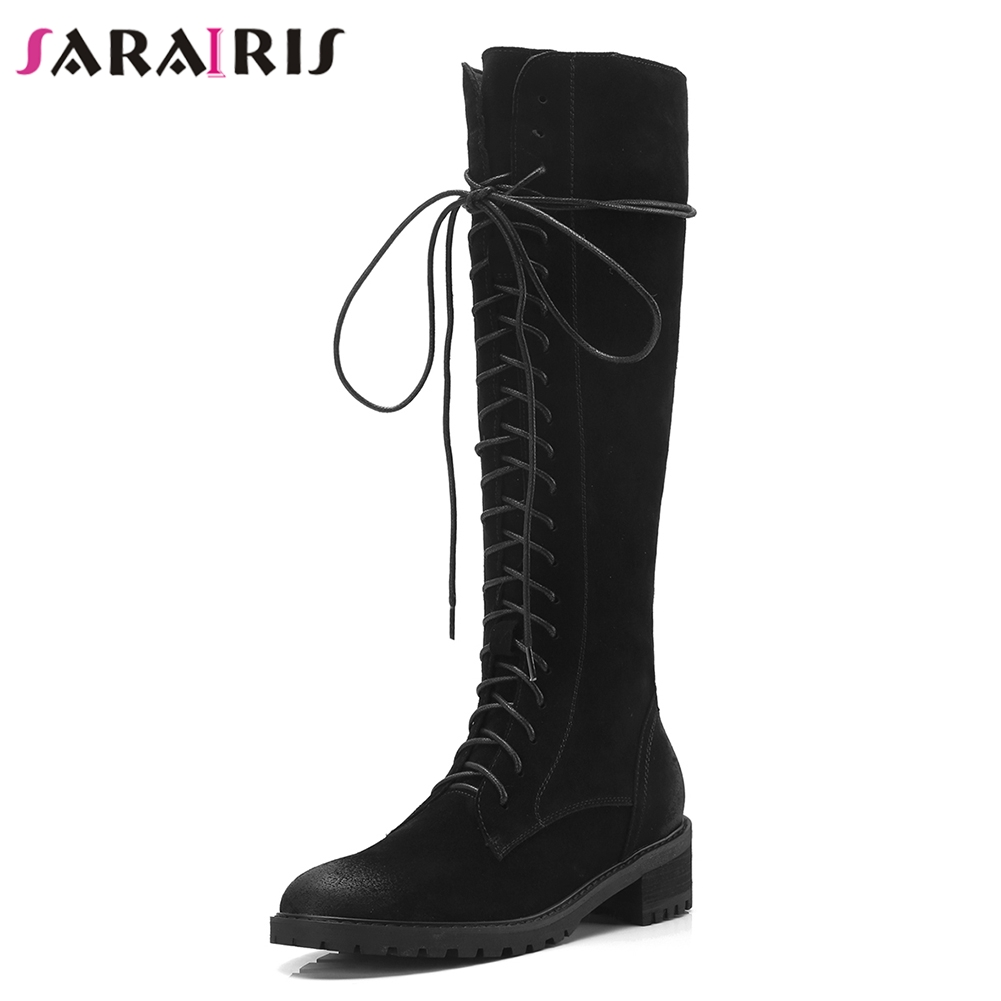 SARAIRIS Brand New Zip Wide Med Heels 4cm Round Toe Shoes Woman Cow Suede Casual Winter Black Mid Calf Boots Large Size 34-40 цена