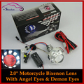 Motorcycle Headlight HID Bi-xenon Lens Projectors With Angel Halo Demon Devil Eyes Xenon Headlamp Light Retrofit Kit motorcross
