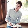 2017 SIMWOOD Brand Men Casual Shirts Spring  Long Sleeve Denim Shirt  Fashion Slim Cotton Striped Camisa Masculina CS135