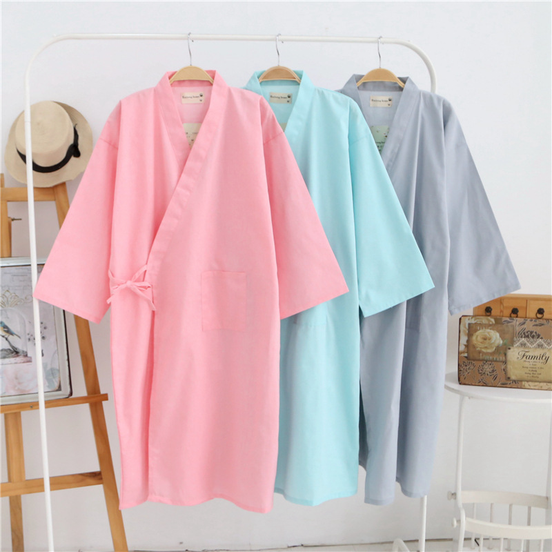 spring summer women japan sleepwear solid kimono robes femme pink grey bath robe de soiree dress. Black Bedroom Furniture Sets. Home Design Ideas