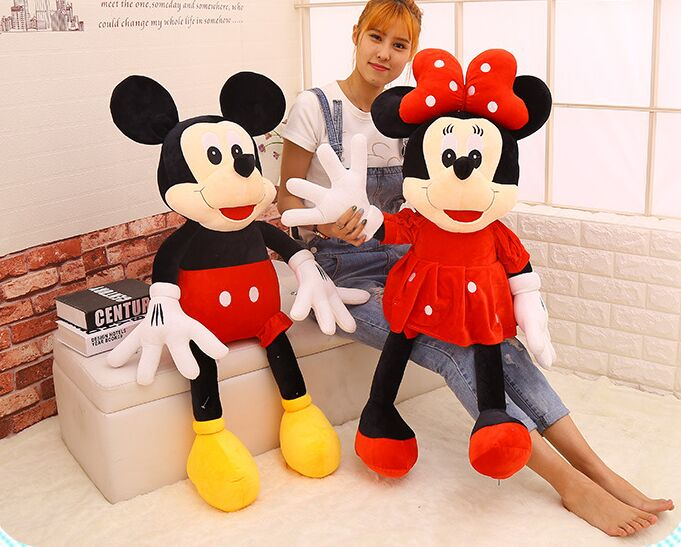 one pair huge 120cm mickey and minnie plush toy loves mice soft doll hugging pillow, birthday gift b1007 one piece huge plush simulation black killer whale toy new whale pillow doll gift about 120cm