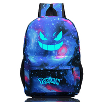Fashion Backpack Pokemon Gengar Backpack Galaxy Luminous Printing Backpack Animation Backpack School Bags for Teenagers Mochila