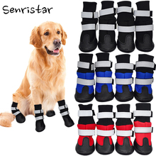 Pet Outdoor Waterproof Anti Slip Dog Shoes For Small Medium Large Warm Retriever Reflective Knitting High Waist Cotton Boots