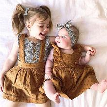 Infant Dresses Toddler Summer Outfits Kids Dress For Baby Girl Little/Big Sister Tops Dress Ruffles Cotton Clothes vestidos(China)