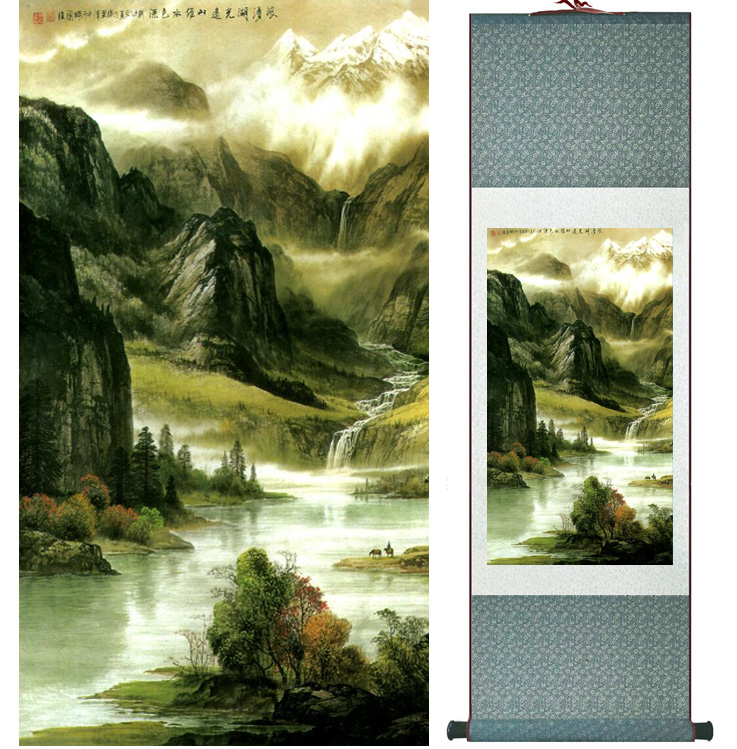 landscape painting Home Office Decoration Chinese scroll painting mountain and River paintingPrinted painting042304