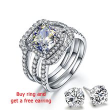 QYI Bridal Rings 925 Sterling Silver Engagement ring set Superior grade zircon White Gold Color Women Gift