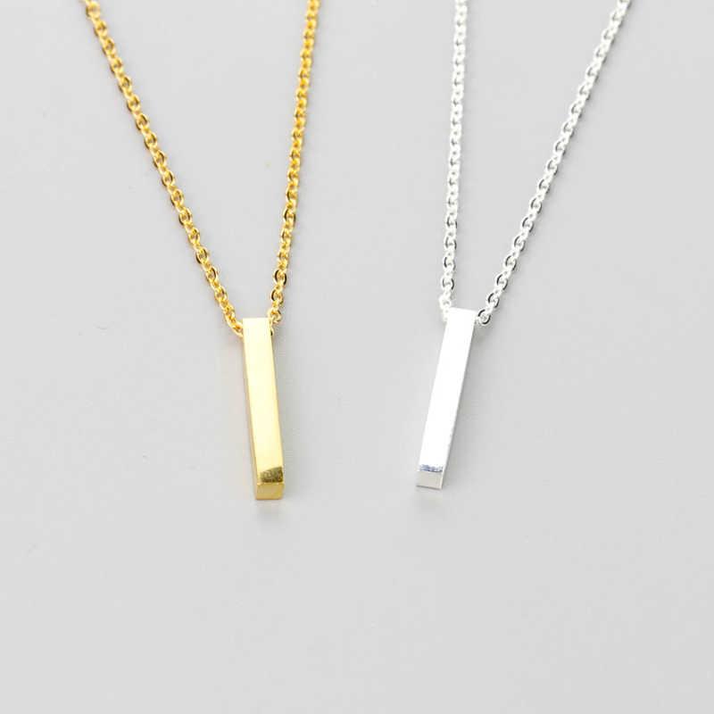 الحد الأدنى العمودي قلادة شريط قلادة للنساء المشاركة هدية الفولاذ المقاوم للصدأ سلسلة الهندسة رقيقة قطاع مجوهرات 2018
