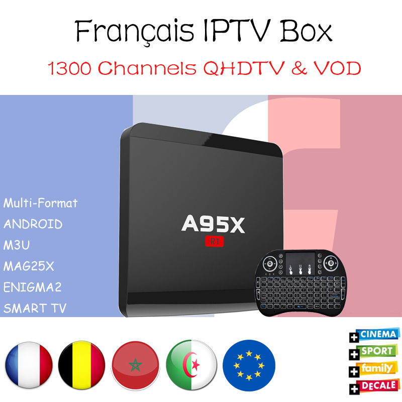 French IPTV A95X R1 Android 7.1 Smart TV Box Amlogic S905W with French Belgium Morocoo IPTV Set Top box 1300+ channels 2000 VOD a95x r1 amlogic s905w quad core android