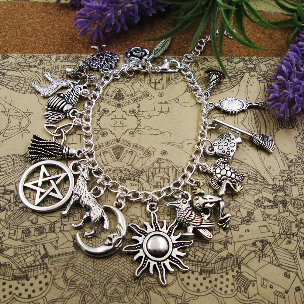 Prata chapeado charme pulseira sun lua staranimals selvagem natural pingente pulseiras