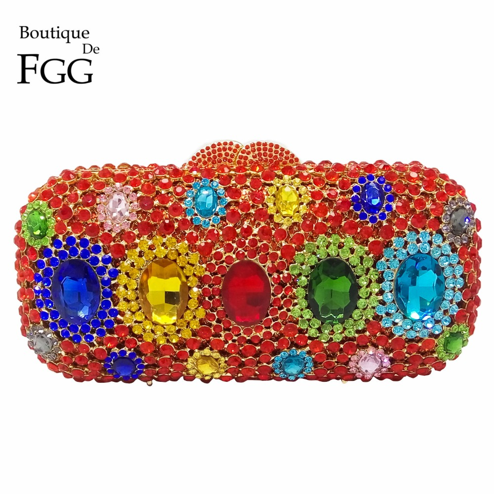 Red Ruby Combo Crystal Diamond Women Metal Box Evening Clutches Handbags Hollow Out Bridal Wedding Party Banquet Shoulder Bag gift box hollow out floral evening day clutches party wedding vintage rhinestone evening pink crystal clutch bag women handbags