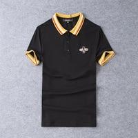 New 2019 Men Embroidered Bee Striped Polo Shirts Shirt Hip Hop Skateboard Mercerized cotton Polo Top Tee Plug size S 5XL #K07