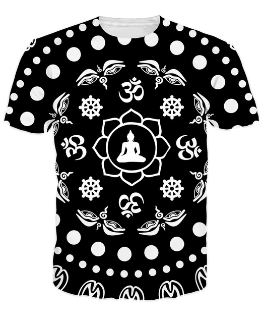 Dharma Symbols T Shirt Bold Black And White Pattern Of Buddhist