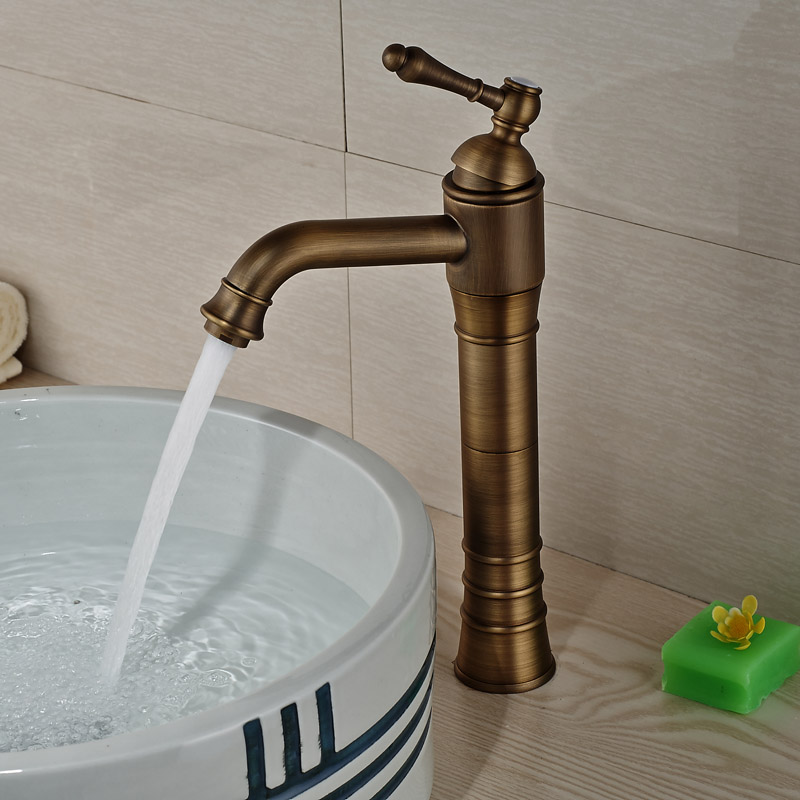 Centerset Antique Brass Bathroom Sink Faucet Single Knobs Basin Mixer Tap Deck Mounted