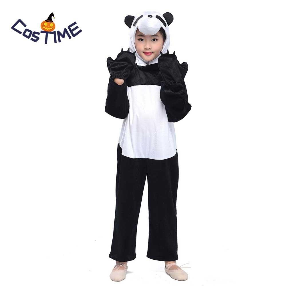 Child Panda Costume Kids Animal Onesies Pajamas Funny Little Panda Jumpsuit Fancy Dress Fleece Toddlers Size Halloween Costumes
