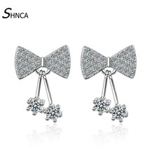 Luxury 925 Sterling Silver AAA Crystal Zircon Rhinestone Bowknot Stud Earrings For Women Earring High Quality Jewelry E191