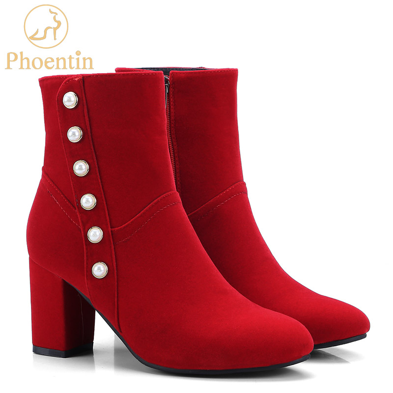 Phoentin beautiful red boots high heels pointed toe zipped women boot new Christmas gift women shoes button mid calf boots FT284 stylish women s mid calf boots with solid color and fringe design