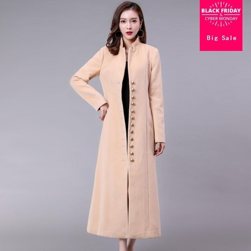 2018 Winter Fashion Wool parkas Women long coat High quality European style Temperament fashion button Women coats outwear L1103