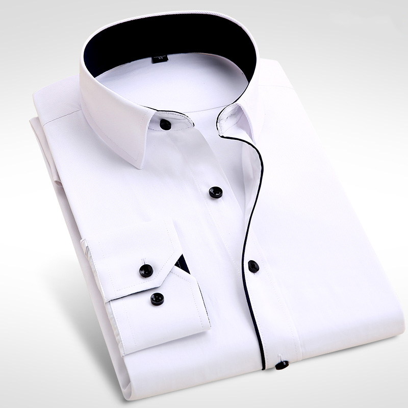 Male Dress Shirts Men's Casual Long Sleeve Business Formal