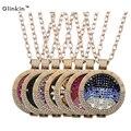 Glinkin Joyería 13 Estilo de Oro Plateado Rodio DIY Joyería Rhinestone Collar de La Moneda en forma de Acero Mancha 35mm Portamonedas