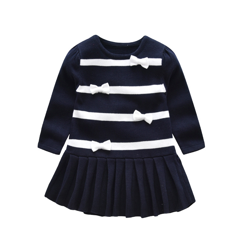 New Knitted Girls Dress Casual Bow Princess Dresses For Girls Fashion Striped Cotton Infant Sweater Dress Winter Kids Clothing fashion toddler girls princess dress elegant floral bow vestidos for baby girl winter infant kids cotton lace dresses