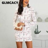 Women Plaid Print Work Dress Ladies Casual Long Sleeve Cowl Neck Dresses Female Mini Pencil Bodycon Dress Spring