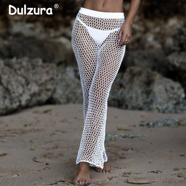 Boho Style Summer Fishnet Pants Women 2018 Knitted Hollow Out