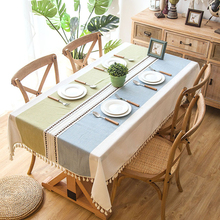 Senisaihon Polyester Cotton Jacquard Tablecloth Embroidered Tassel Lace Khaki Striped Rectangular Dining Table cloth Table Cover recycled earth friendly outdoor patio round dining table khaki