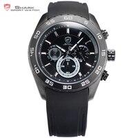 Spinner shark zegarek sportowy mężczyzna zegar black dial rubber band Wyświetlacz 6 Ręce Chronograph 24 Godzin Mężczyźni Odkryty Quartz Zegarki/SH260