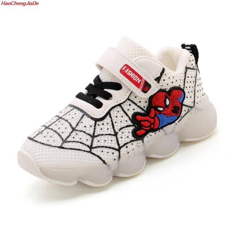 Brand Spider Man Children Luminous Glowing Shoes With Led Light Up Shoes Sneakers Toddler Boys Shoes Led Sneakers Size 21-30