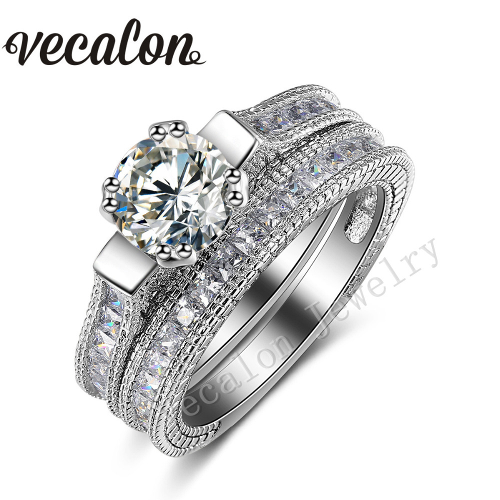 Vecalon Round cut 3ct AAAAA Zircon Cz 2 in 1 Engagement Wedding Band Ring Set for