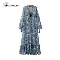Vintage Floral Print Beach Long Dress Women 2017 Summer Loose Chiffon Dress Female Deep V Neck