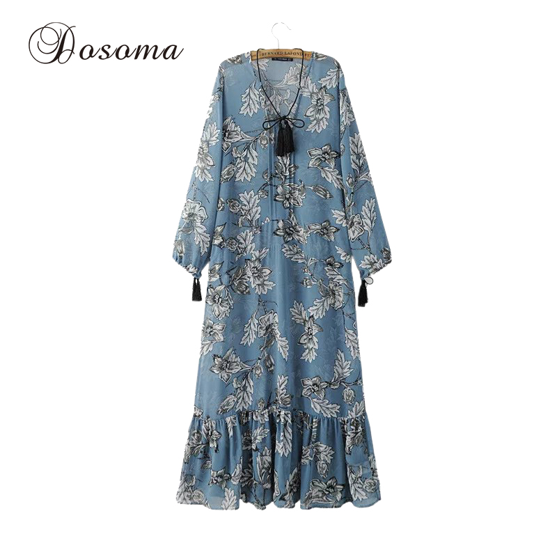 Vintage floral print beach long dress mujeres 2017 verano flojo chiffon dress mu