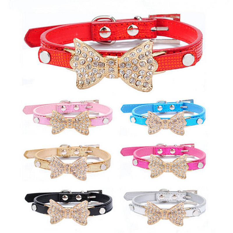 Cool Dog Collars Small Dogs Bling Crystal Bow Leather Pet