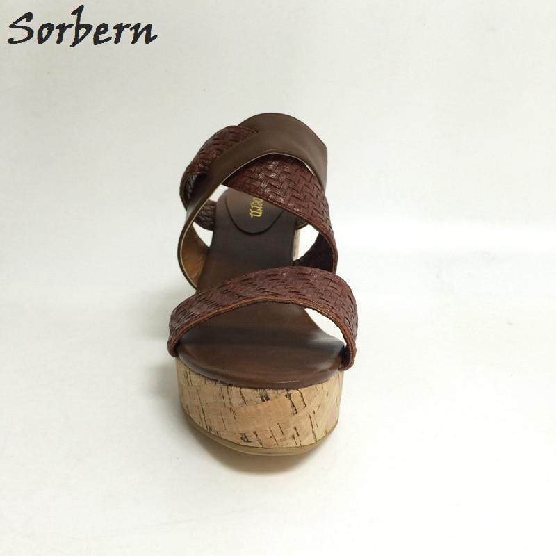 Pantoufles Mujer Us14 Plus Plate Brun Chaussures forme De Sorbern Plataforma Femmes Ouvert Causalité Des À Zapatos Diapositives La Dames Bout Sandale Wedge Marron Taille HnBxpPxW