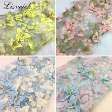 1y Exquisite 3D Butterfly Embroidery Lace Fabric Multicolor Gold Thread Bridal Gown Wedding Fabrics Tulle Cloth DIY Dress 1336