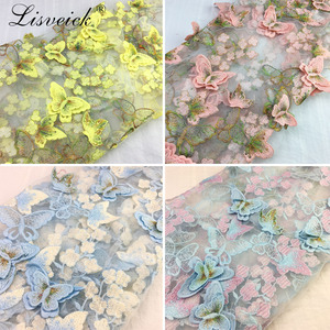 1y Exquisite 3D Butterfly Embroidery Lace Fabric Multicolor Gold Thread Bridal Gown Wedding Fabrics Tulle Cloth DIY Dress 1336(China)