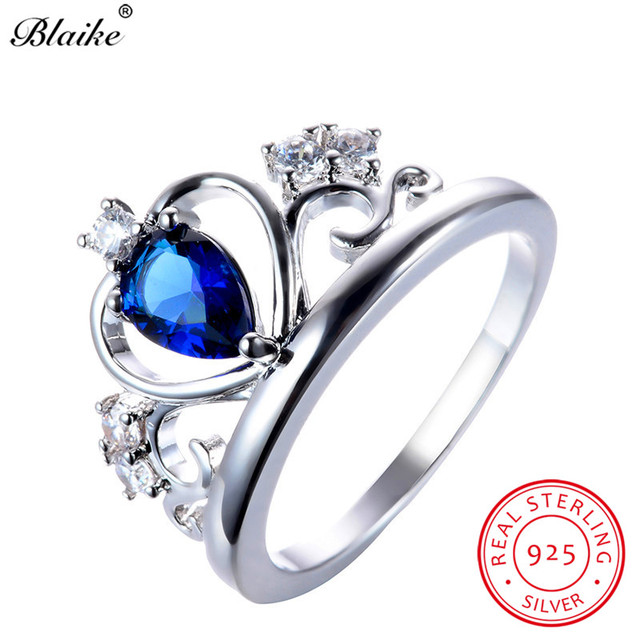 Blaike heart sapphire blue zircon queen crown rings for women real blaike heart sapphire blue zircon queen crown rings for women real 925 sterling silver september birthstone aloadofball Images