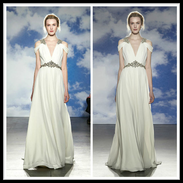 Jenny Packham Beach Wedding Dress 2015 Sheer V Neck Summer Chiffon ...