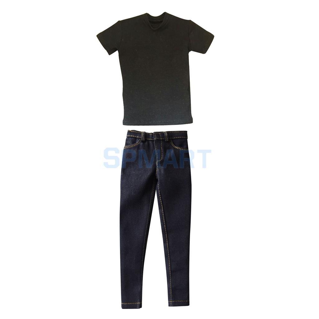 1/6 Scale Mens Black Short T-Shirt & Denim Jeans Outfit Clothes for 12 Male Action Figure Dolls