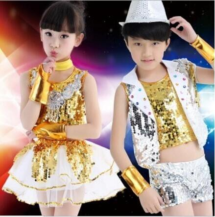 New 2018 Modern Dance Costume Clothes Kids Girls Paillette Sequin Fashion Jazz Dress Dance Performance Costume