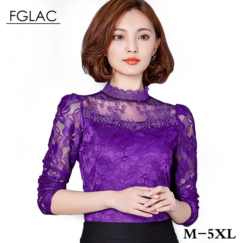 5XL Plus size women clothing New 2017 Spring Women lace tops Fashion Elegant blouse shirt Long-sleeve Sexy Hollow lace shirt