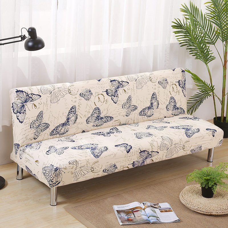 Printing butterfly Sofa Bed Cover Folding seat slipcovers Modern stretch covers cheap Armless Couch Protector Towel wrap bench
