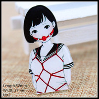Free shipping 1pcs lovely girl Accessories Fashion cartoon acrylic Brooch Badge Pin Collar brooch Jewelry Gift,Pet cloth,02