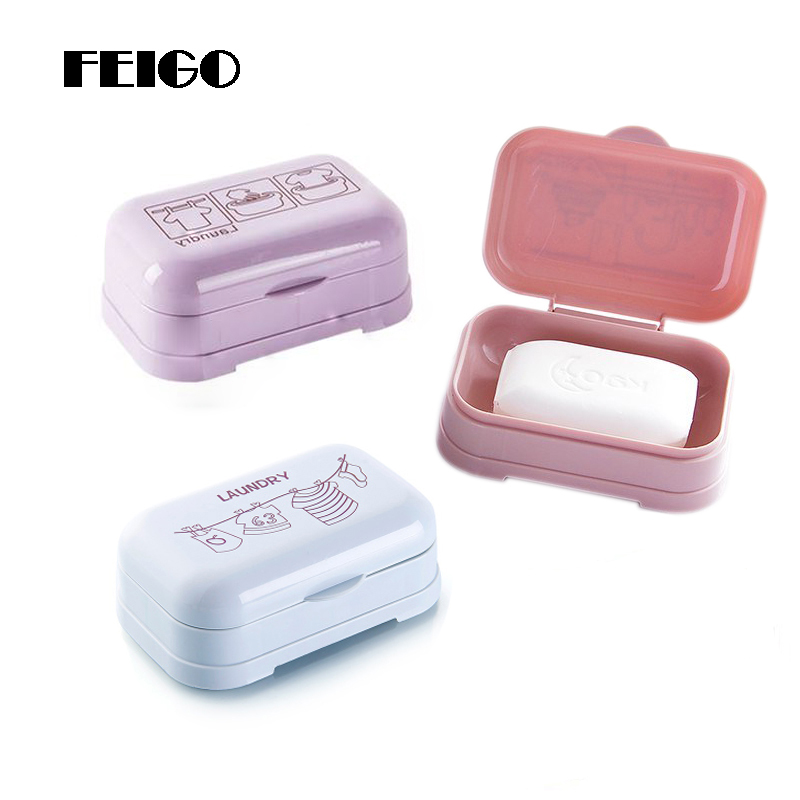 FEIGO 1Pcs Printing Soap Box With Cover Soap Case Soap Dish Holder Waterproof Home Travel Soap Dishes Bathroom Accessories F808