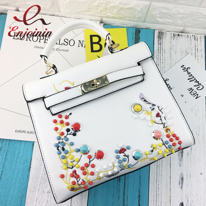 New style fashion luxury embroidery flower color rivet ladies handbag totes shoulder bag female purse crossbody messenger bag  new arrival fashion color rivet metal decoration female totes shoulder bag handbag women s crossbody messenger bag 2 colors