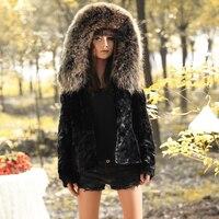 Factory wholesale New Ladies' Mink fur coat,Elegant slim raccoon collar hooded mink coat fur jacket FZ015