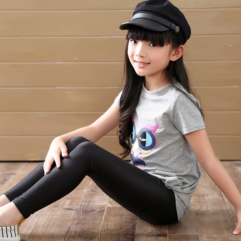 2-14 Years Girls Skinny Long Pants Shiny Black White Pink Children Bottoms Leggings Kids Elastic Trousers All-matches Leggings 3